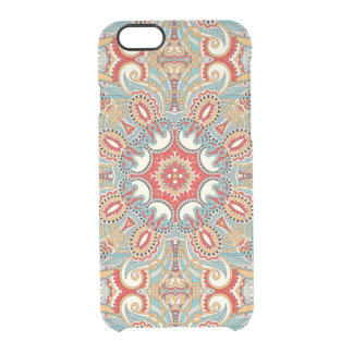 Retro Chic Red Teal Pretty Floral Mosaic Pattern Clear iPhone 6/6S Case