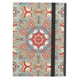 Retro Chic Red Teal Pretty Floral Mosaic Pattern iPad Air Covers