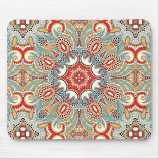 Retro Chic Red Teal Pretty Floral Mosaic Pattern Mouse Pad