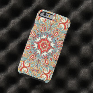 Retro Chic Red Teal Pretty Floral Mosaic Pattern Tough iPhone 6 Case