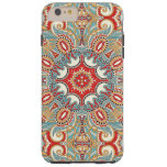 Retro Chic Red Teal Pretty Floral Mosaic Pattern Tough iPhone 6 Plus Case