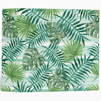 Retro Chic Tropical Green Palm Leaves Pattern Binder