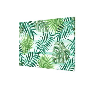 Beach Themed Retro Chic Tropical Green Palm Leaves Pattern Canvas Print