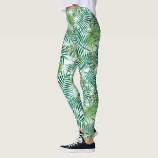 Retro Chic Tropical Green Palm Leaves Pattern Leggings