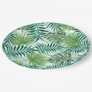 Retro Chic Tropical Green Palm Leaves Pattern Paper Plate