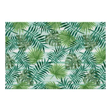 Beach Themed Retro Chic Tropical Green Palm Leaves Pattern Poster