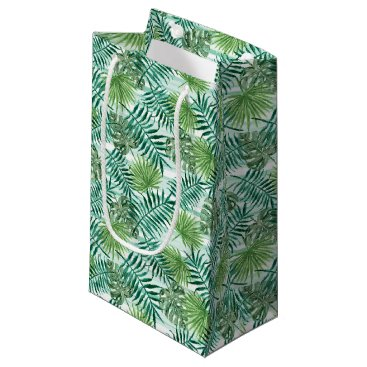 Beach Themed Retro Chic Tropical Green Palm Leaves Pattern Small Gift Bag
