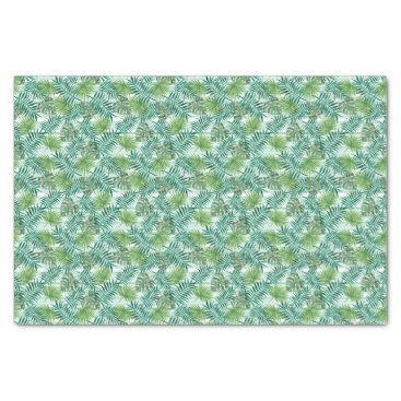 Beach Themed Retro Chic Tropical Green Palm Leaves Pattern Tissue Paper