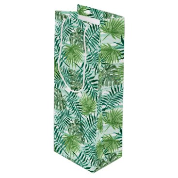 Beach Themed Retro Chic Tropical Green Palm Leaves Pattern Wine Gift Bag