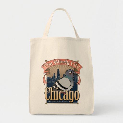 Retro Chicago Pigeon Canvas Bags