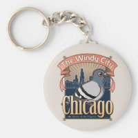 Customizable Chicago Pigeon Basic Button Keychain