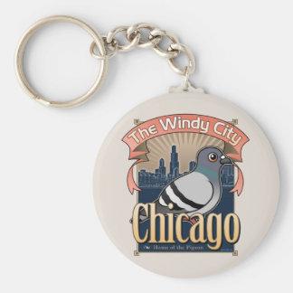Retro Chicago Pigeon Key Chains