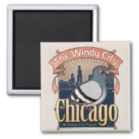 Customizable Chicago Pigeon Square Magnet