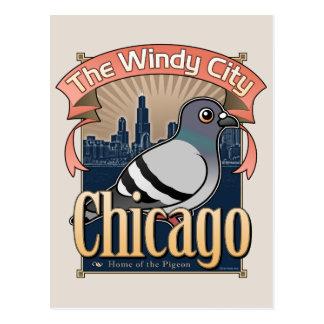 Retro Chicago Pigeon Postcard