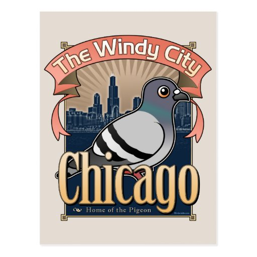 Retro Chicago Pigeon Postcards