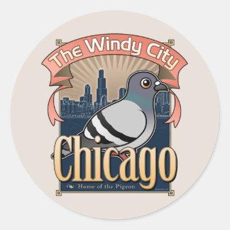 Retro Chicago Pigeon Round Stickers