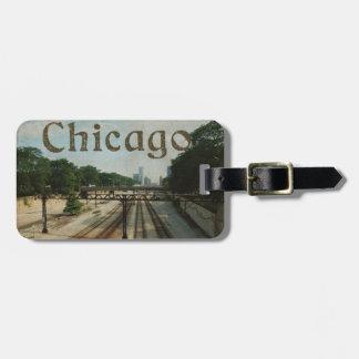 Retro Chicago Train Tracks Luggage Tag