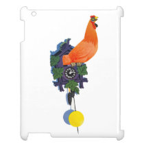 Retro Chicken Coo-Coo Clock Rooster Time Vintage iPad Cover