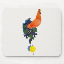 Retro Chicken Coo-Coo Clock Rooster Time Vintage Mouse Pad