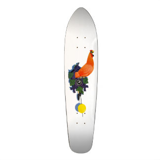 Retro Chicken Coo-Coo Clock Rooster Time Vintage Skateboard Deck