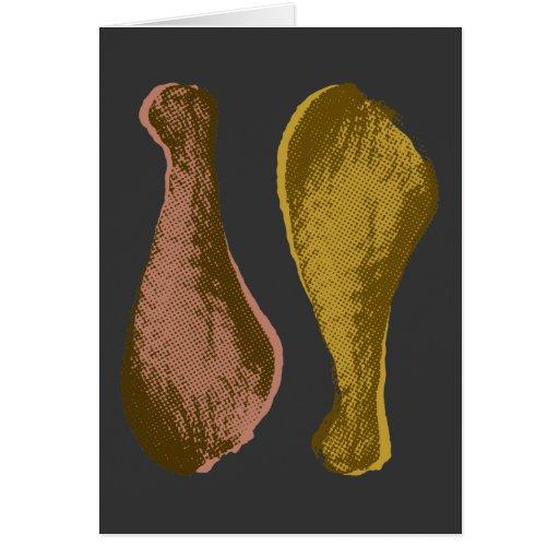 Retro Chicken Drumsticks Graphic Greeting Card