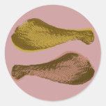 Retro Chicken Drumsticks Graphic Classic Round Sticker