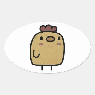 Retro Chicken Oval Sticker