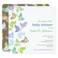 Retro Chicks Boy Baby Shower Party Invitation