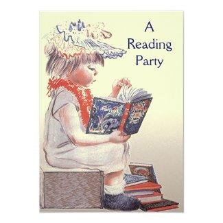 Retro Child Reading Party Book Club Invitation