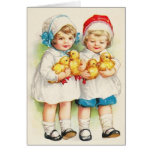 Retro Children And Ducklings Note Card