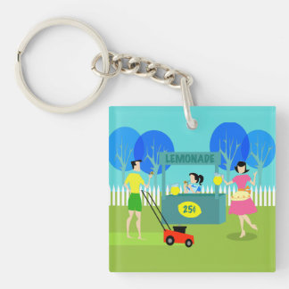 Retro Children's Lemonade Stand Acrylic Keychain
