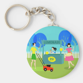 Retro Children's Lemonade Stand Button Keychain