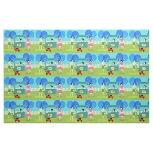 Retro children 39 s lemonade stand fabric zazzle for Retro childrens fabric