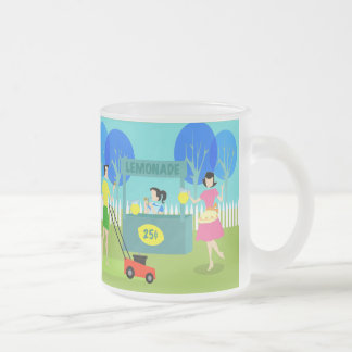 Retro Children's Lemonade Stand Frosted Glass Mug
