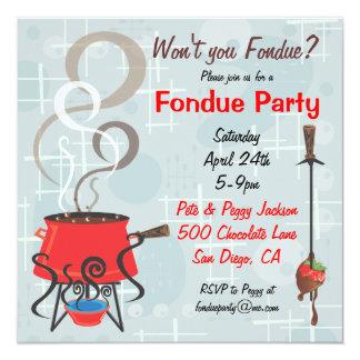 """Retro Chocolate Fondue Party Invitation 5.25"""" Square Invitation Card"""