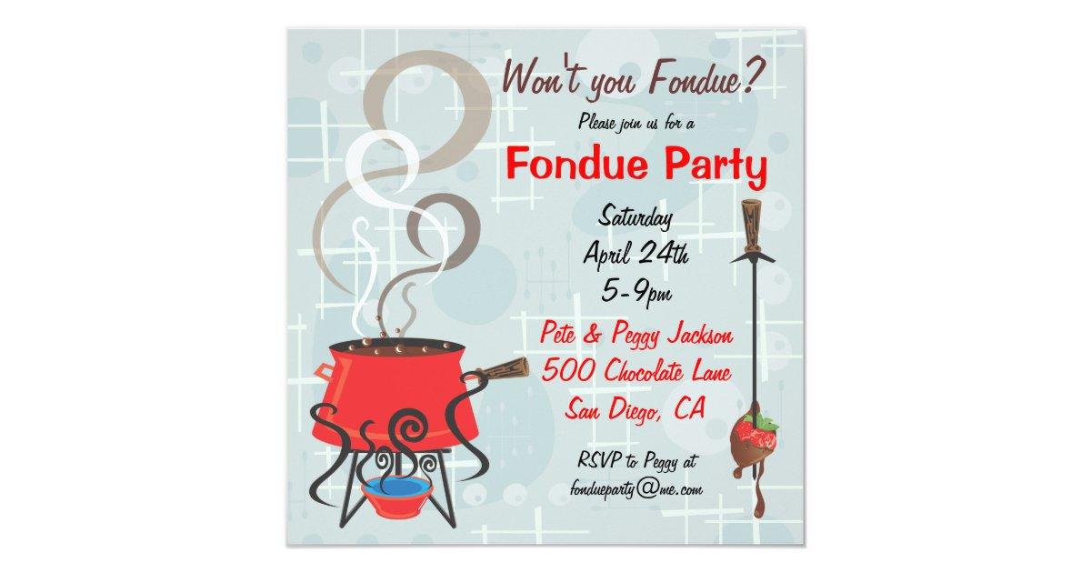 Retro Chocolate Fondue Party Invitation | Zazzle.com