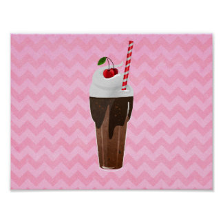 Retro Chocolate Ice Cream Shake Poster