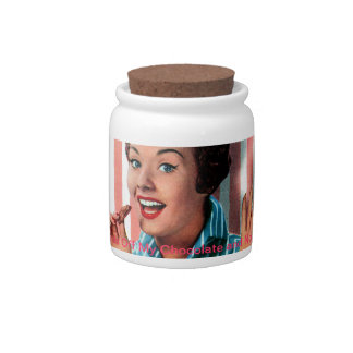 Retro Chocolate Lady Graphic Candy Jar