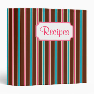 Retro Chocolate Striped Recipe Organizer Binder