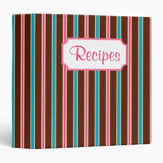 Retro Chocolate Striped Recipe Organizer Binder