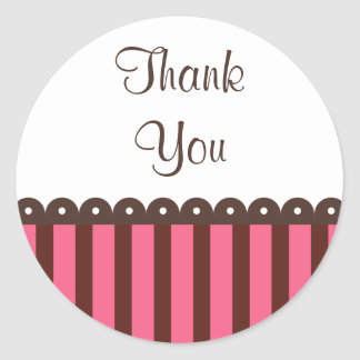 Retro Chocolate Thank You Stickers