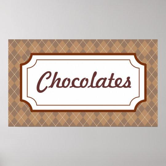 Retro Chocolates Sign Poster