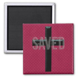 Retro Christian Cross SAVED Magnet