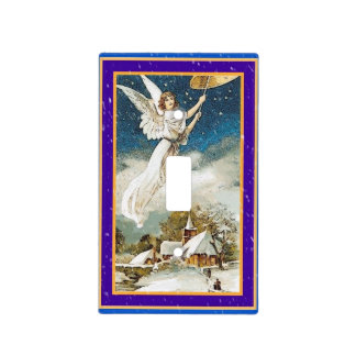 Retro Christmas Angel Ringing Golden Bell Switch Plate Covers