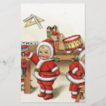 Retro Christmas art baby Santa's by fireplace cute