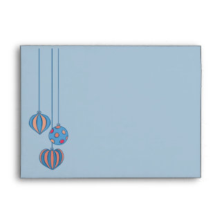 Retro Christmas Balls blue A7 Envelope