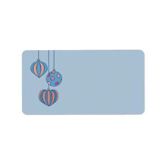 Retro Christmas Balls blue Address Labels