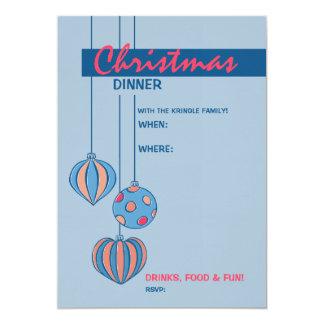 "Retro Christmas Balls blue Dinner Invitation 5"" X 7"" Invitation Card"