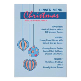 "Retro Christmas Balls blue Dinner Menu 5"" X 7"" Invitation Card"
