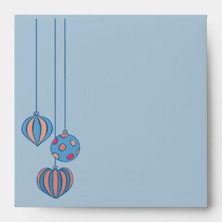 Retro Christmas Balls blue orange Square Envelope